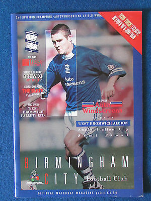 Birmingham City v West Bromwich Albion -30/1/96 - Anglo Italian Cup SF Programme