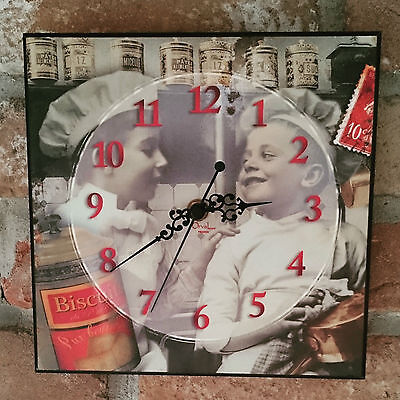 Orval Créations - Clock, Pendulum square Children shabby vintage wooden