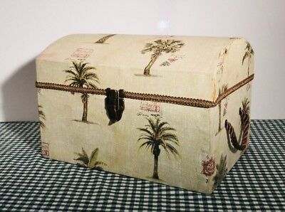 Wooden Box Steamer Trunk Style Covered In Fabric Palm Tree Motif Storage