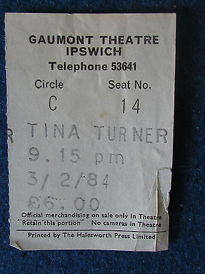 Tina Turner - Concert Tour Ticket - 3/2/1984 - Gaumont Theatre, Ipswich