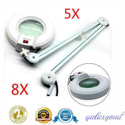 5X/8X Magnifying Lamp Glass Lens Diopter Round Head LED Magnifier Desk Clamp AU