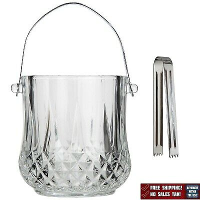 Glass Ice Bucket With Tongs Handle Kitchen Dining Bar Top Quality New