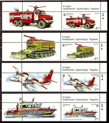 Ukraine 2017 Set Fire Fighting Vehicles History of Fire Transport Boat Plane #73