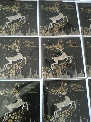 50 black and gold christmas cards, wholesale joblot greeting cards