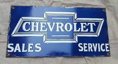 """Porcelain  CHEVROLET Sign SIZE 20"""" X 10""""  INCHES"""