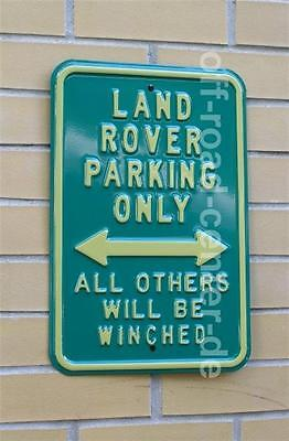 "Schild ""LAND ROVER PARKING ONLY"" (Land Rover Parkplatz) grün, Metall"