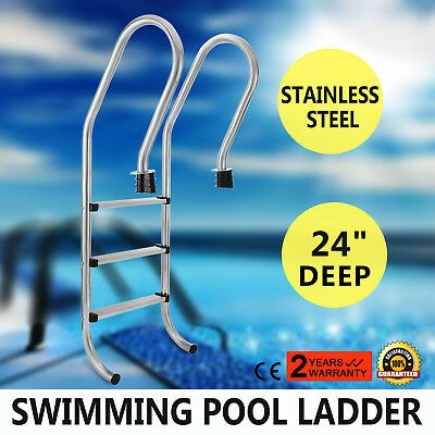 """In Ground Swimming Pool Silver Ladder 3 Step In Pool 24"""" Non Slip"""