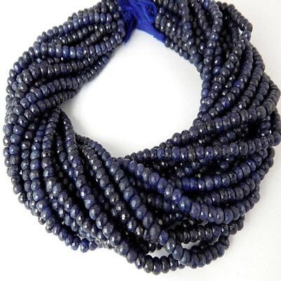 """1 Strand Dyed Blue Sapphire Corundum 5mm Rondelle Micro Faceted Beads 13.5"""" Long"""