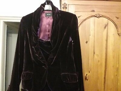 Ladies Marks and Spencers Per Una  Skirt and Jacket suit Wine coloured SIZE 12