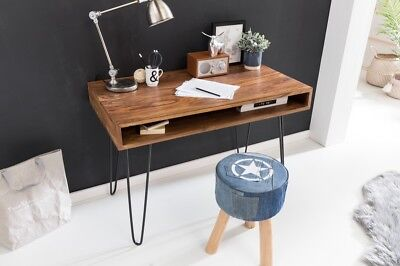 wohnling schreibtisch bagli braun 110 x 60 x 76 cm massiv holz laptoptisch shees eur 251 33. Black Bedroom Furniture Sets. Home Design Ideas