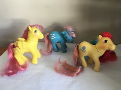 VTG My Little Pony G1 Pretty vision brush & grow floater bow tie Job Lot 3