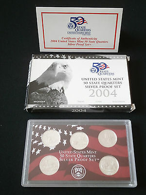 US State Quarter Silver proof Set  2004 - Komplett PP - 900er Silber