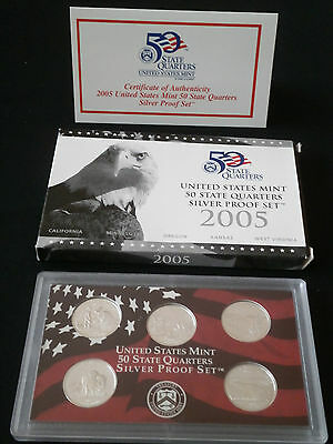US State Quarter Silver proof Set  2005 - Komplett PP - 900er Silber