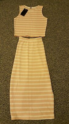 co ord top and skirt set peach and white stripey