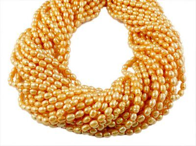 """5 Strands Yellow Freshwater Pearls Rice Shape Size 4x6mm Gemstone Beads 16"""" Long"""