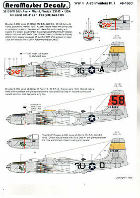 DECALS 1/48 AEROMASTER WW II A-26 INVADERS Pt. I