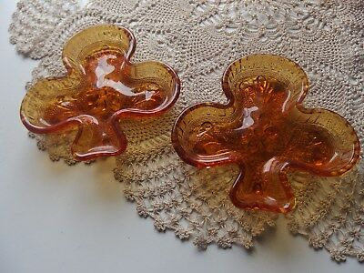 "TWO DEPRESSION GLASS AMBER COLOURED "" CLUB "" Shaped trinket dishes"