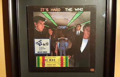 """The Who - """"It's Hard"""" Autographed by band members WITH 1982 TICKET AND VIP PASS!"""