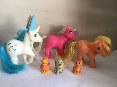VTG My Little Pony G1 Majesty Snowflake Applejack Friends Cat Duck Dog Job Lot 5