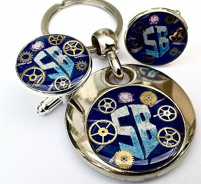 Dr Who handmade painted personalised handmade key ring & cufflinks doctor tardis