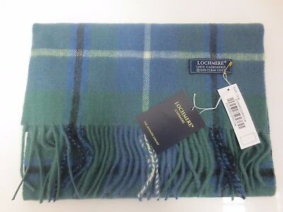 LOCKMERE Cashmere scarf BNWT green blue & white check super soft *