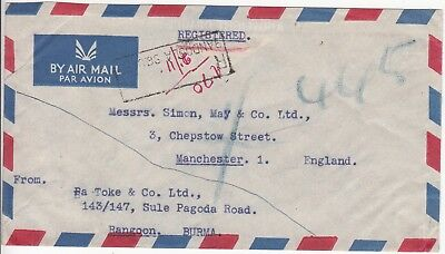 Burma: Registered Airmail; B.A. Toke & Co, Bandoola Sq, Rangoon-Manchester, 1953