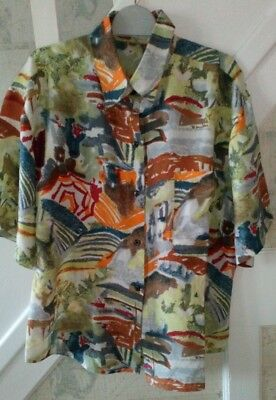 VINTAGE silk blouse TOP shirt abstract painting OVERSIZED 90s fresh Prince crazy