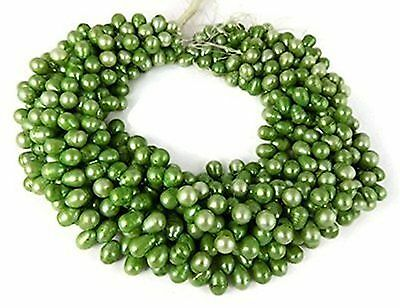 3 Strands Green Freshwater Pearl Rondelle 7-8mm 13'' Long Smooth Gemstone Beads