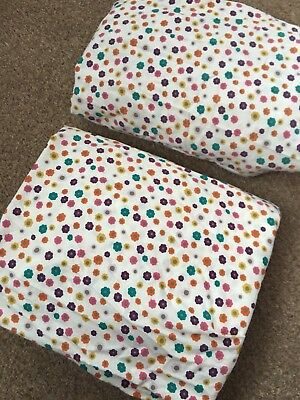 Mamas And Papas Timbuktales Girls Flower Fitted Cotbed Sheets X2