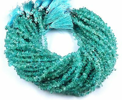 "3 Strand Natural Apatite Tear Drop 4x6mm 13"" Long Smooth Gemstone Jewelry Beads"