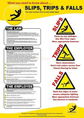 Health and Safety Slips Trips HSE02 POSTER PRINT A3 A4 BUY 2 GET 1 FREE