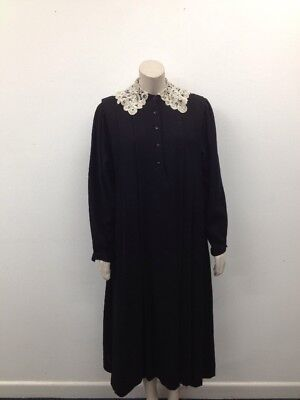 Laura Ashley - Vintage Victorian Lace Collar Button Up Ladies Dress UK 14 (X614)
