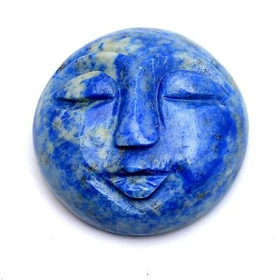 2 Pcs Lot of Sodalite Carved Moon Face Cabochon Approx 26mm Loose Gemstones