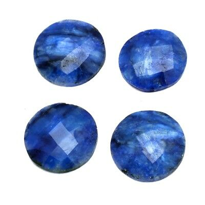 4 Pcs Lot of Faceted Dyed Blue Sapphire Round Shape Approx 16mm Loose Gemstones