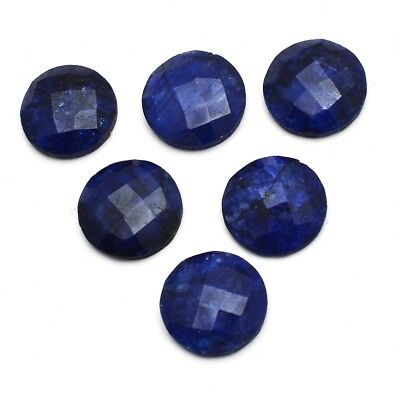 6 Pcs Lot of Faceted Dyed Blue Sapphire Round Shape Approx 16mm Loose Gemstones