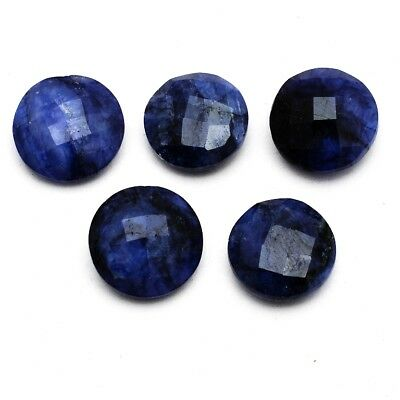 5 Pcs Lot of Faceted Dyed Blue Sapphire Round Shape Approx 15mm Loose Gemstones