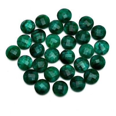 29 Pcs Lot of Faceted Dyed Emerald Round Shape Approx 12mm Loose Gemstones