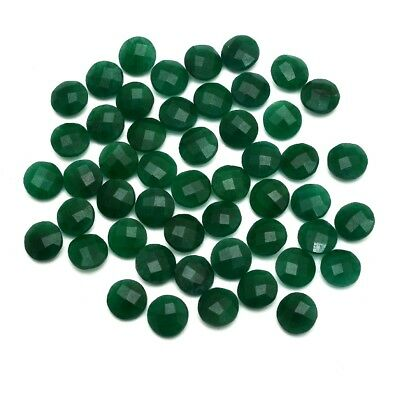 50 Pcs Lot of Faceted Dyed Emerald Round Shape Approx 10mm Loose Gemstones