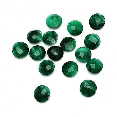 16 Pcs Lot of Faceted Dyed Emerald Round Shape Approx 8mm Loose Gemstones