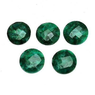 6 Pcs Lot of Faceted Dyed Emerald Round Shape Approx 12mm Loose Gemstones