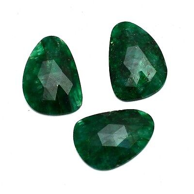 3 Pcs Lot of Faceted Dyed Emerald Natural Shape Approx 20x15mm Loose Gemstones