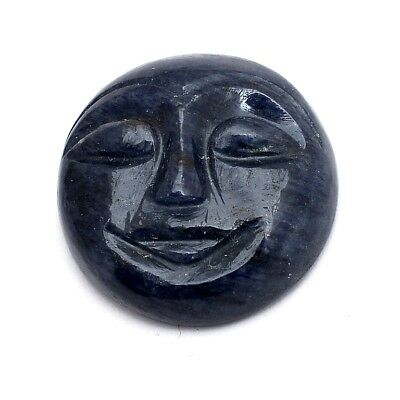 2 Pcs Lot of Charotie Carved Moon Face Cabochon Approx 26mm Loose Gemstones