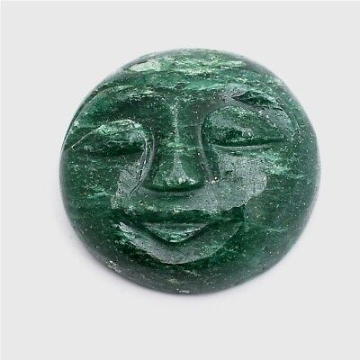 1 Pc of Green Aventurine Carved Moon Face Cabochon Approx 26mm Loose Gemstones