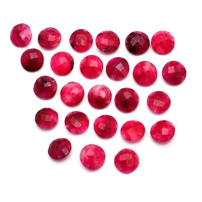 25 Pcs Lot of Faceted Dyed Ruby Round Shape Approx 10mm Loose Gemstones