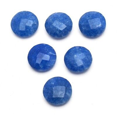 6 Pcs Lot of Faceted Dyed Blue Sapphire Round Shape 12mm Aprox Loose Gemstones