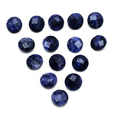 15 Pcs Lot of Faceted Dyed Blue Sapphire Round Shape 8mm Aprox Loose Gemstones