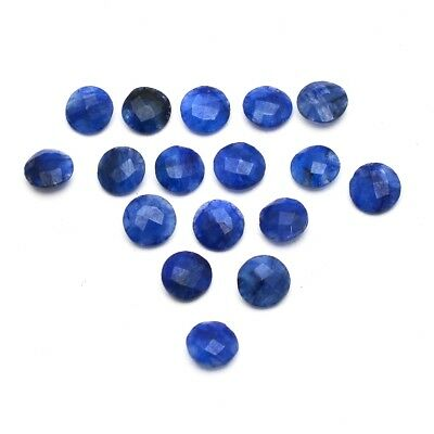 17 Pcs Lot of Faceted Dyed Blue Sapphire Round Shape 8mm Aprox Loose Gemstones