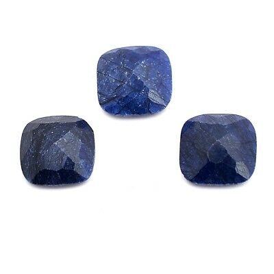 3 Pcs Lot of Faceted Dyed Blue Sapphire Cushion Approx 12mm Loose Gemstones
