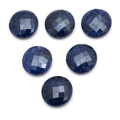 10 Pcs Lot of Faceted Dyed Blue Sapphire Round Shape Approx 15mm Loose Gemstones