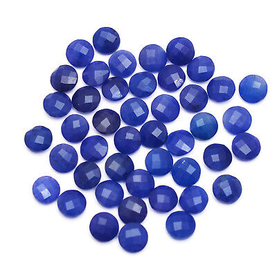 45 Pcs Lot of Faceted Dyed Blue Sapphire Round Shape Approx 10mm Loose Gemstones